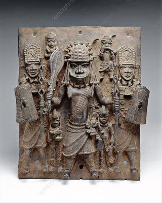 Benin brass plaque, 16th-17th century