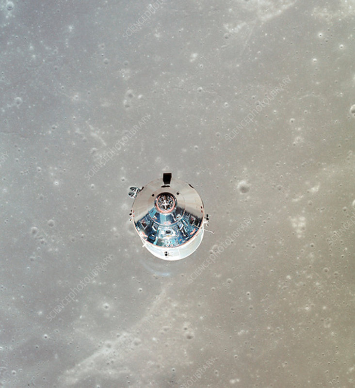 Apollo 11 CSM spacecraft in lunar orbit, 1969 - Stock Image