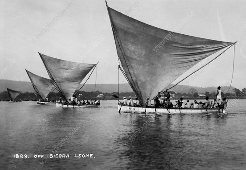 Sailing boats, Sierra Leone, 20th century