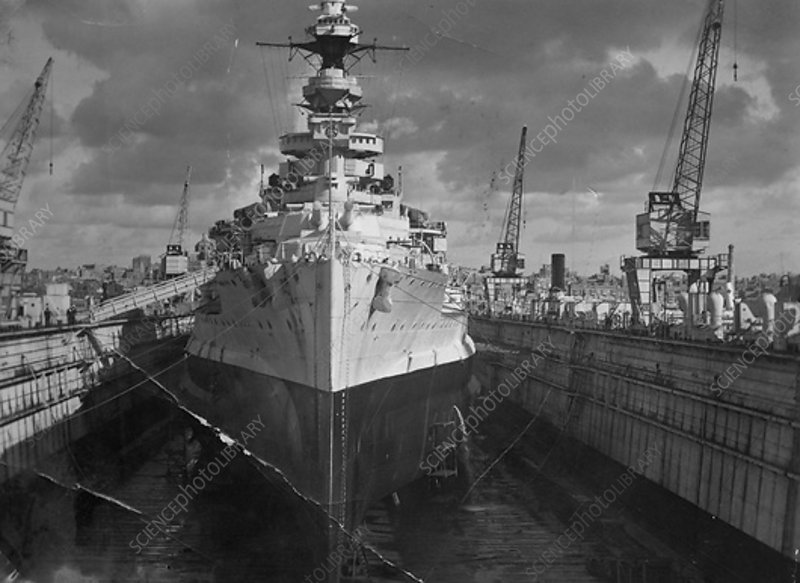 Battleship HMS Malaya in a floating dock, Malta, c1937