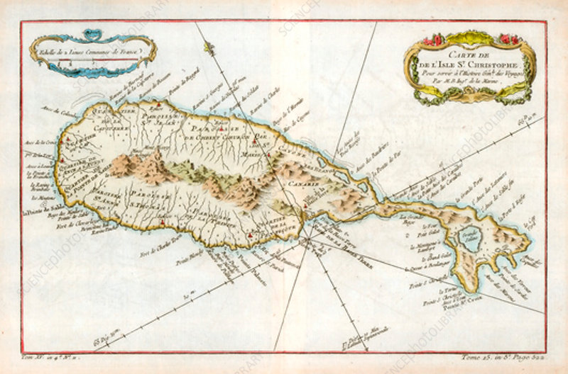 Map of the Caribbean island of St Christopher, c1764