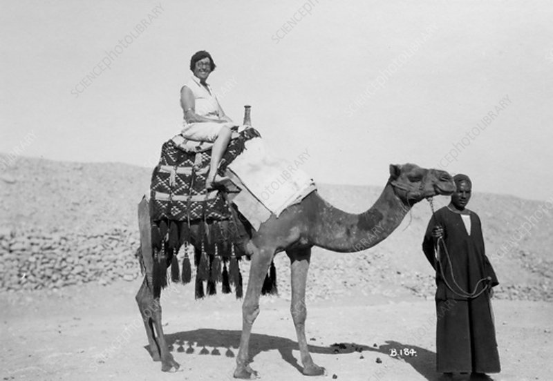 Woman on a camel tour, Egypt