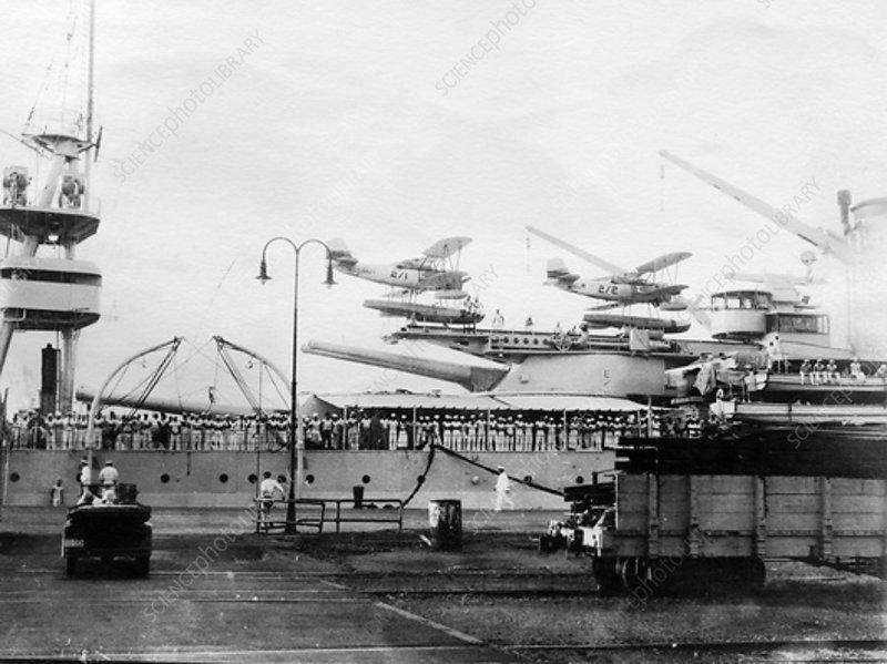 Seaplanes on board a US Navy warship, Balboa, Panama, 1931