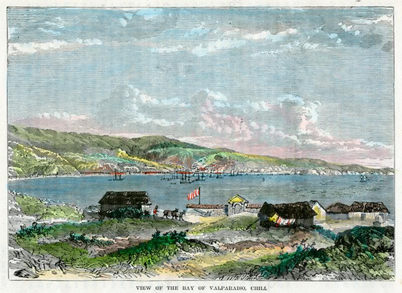 View of the Bay of Valparaiso, Chili, c1880