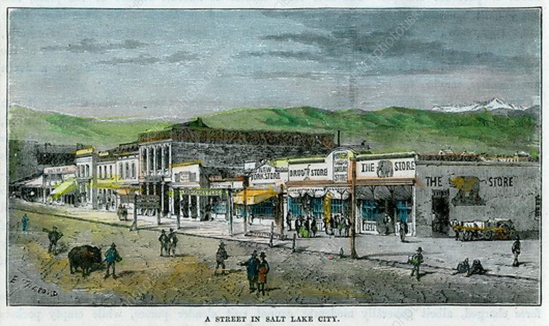 A Street in Salt Lake City, Utah, USA, c1880
