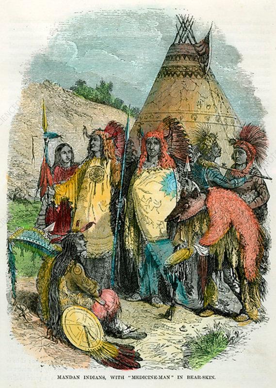 Mandan Indians, with Medicine Man in Bear Skin, c1875