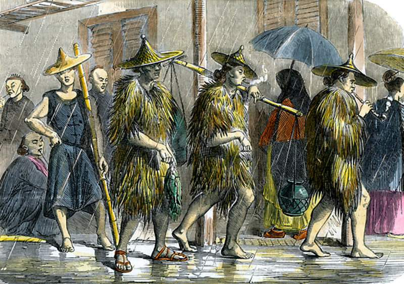 Coolies at Hong Kong, in wet weather, c1875