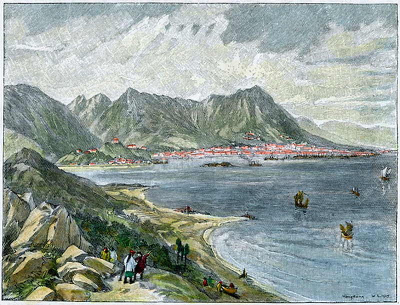 Victoria, Hong Kong, from the Chinese mainland, c1890