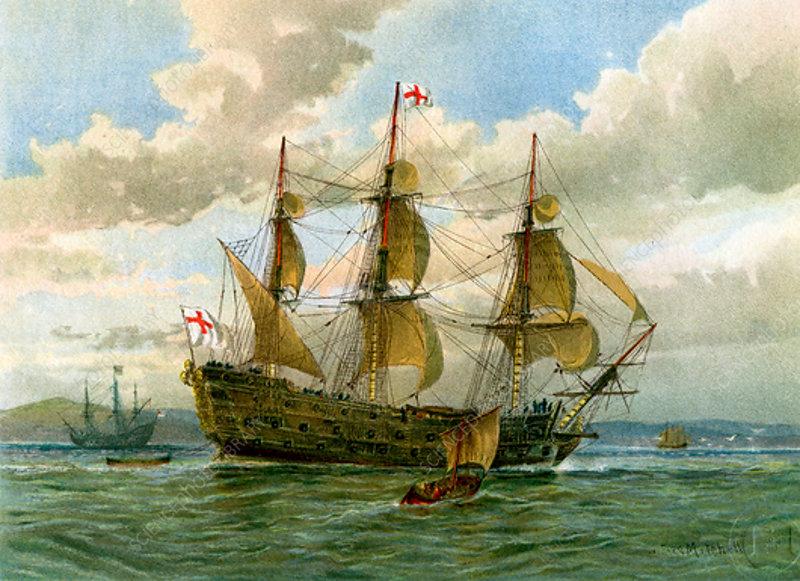 Royal Navy battle ship, c1650