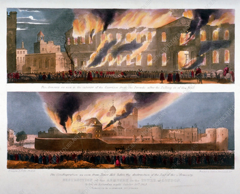 Destruction of the Armoury in the Tower of London, 1841