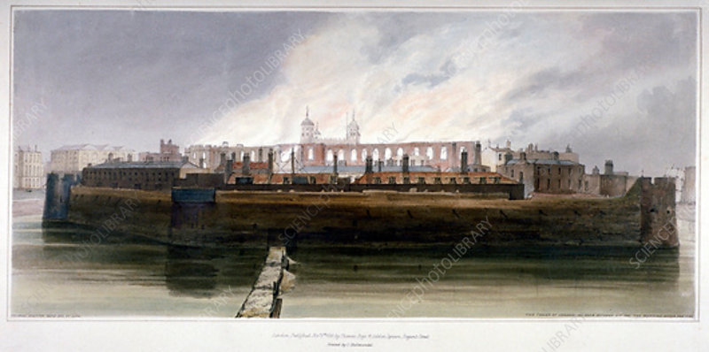 The Tower of London after the fire on 30 October 1841