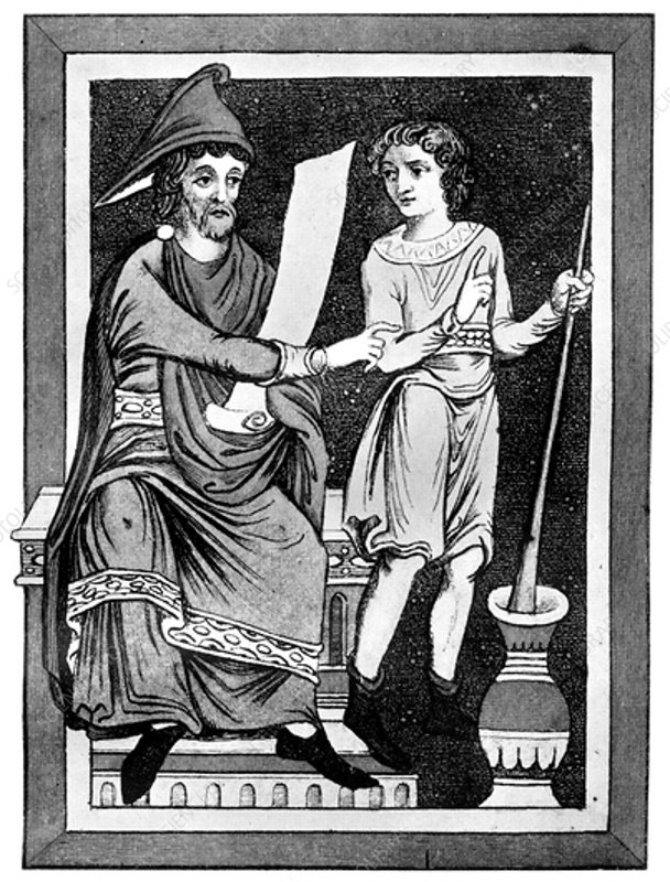 Doctor and servant, 13th century