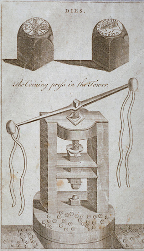 Coining press and dies from the Tower of London, 1800