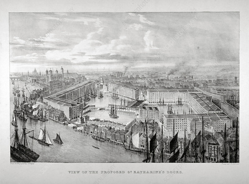View of the proposed St Katharine's Dock, London, c1825