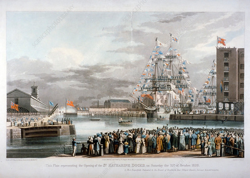 The opening of St Katharine's Dock, London, 1828