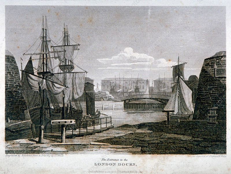 View of the entrance to London Docks, Wapping, 1815