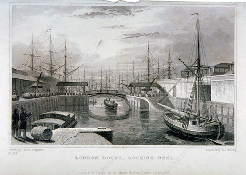 View of London Docks looking west, Wapping, 1831