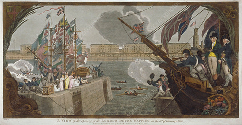 The opening of London Docks, Wapping, 1805