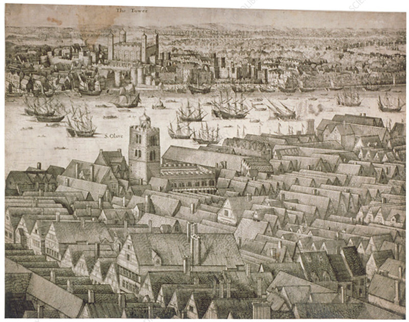 Tower of London with boats on the River Thames, 1647