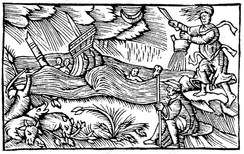 Witch raising a storm, 1562