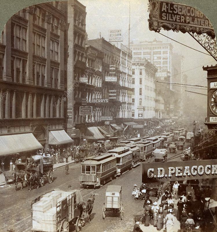 State Street, Chicago, Illinois, USA, 1908