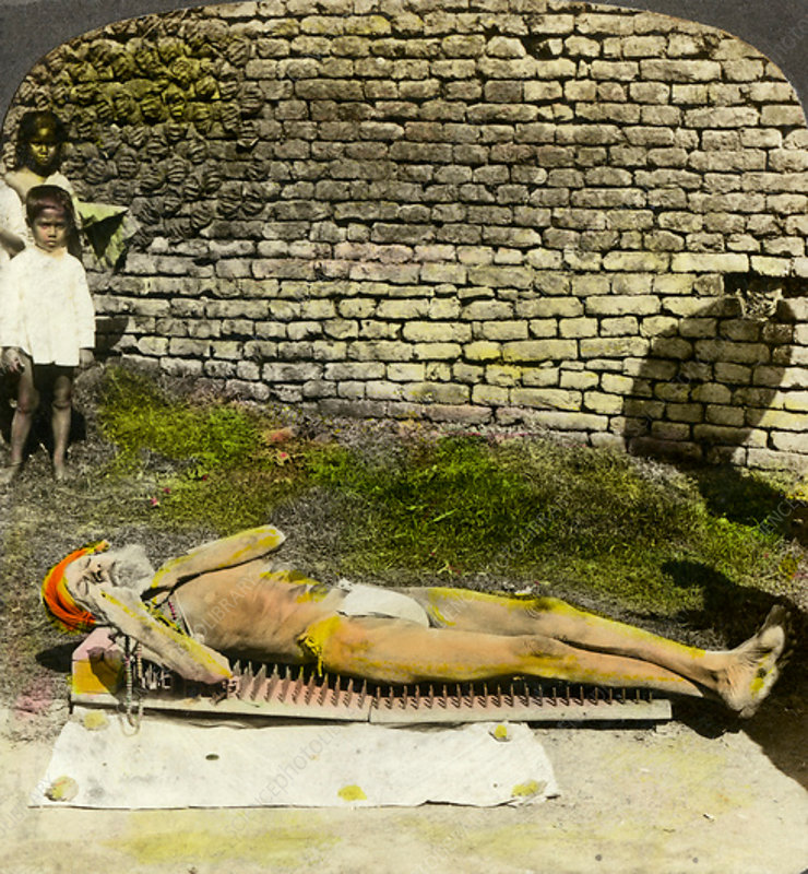 Hindu devotee on a bed of nails, Calcutta, India