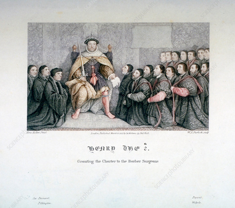 Henry VIII granting the charter to the Barber Surgeons