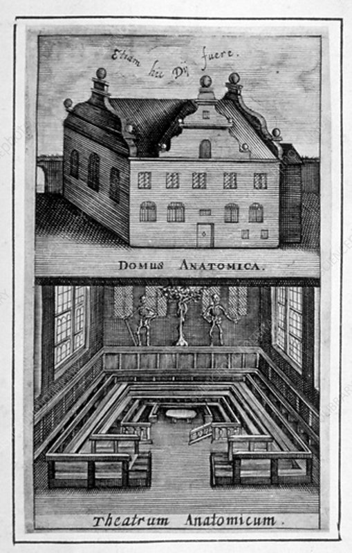 Exterior of building and anatomical theatre inside, c1662