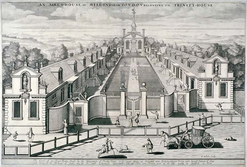 Trinity Almshouses, Mile End Road, Stepney, London, 1696