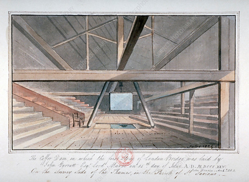 View of the foundation of London Bridge, 1825