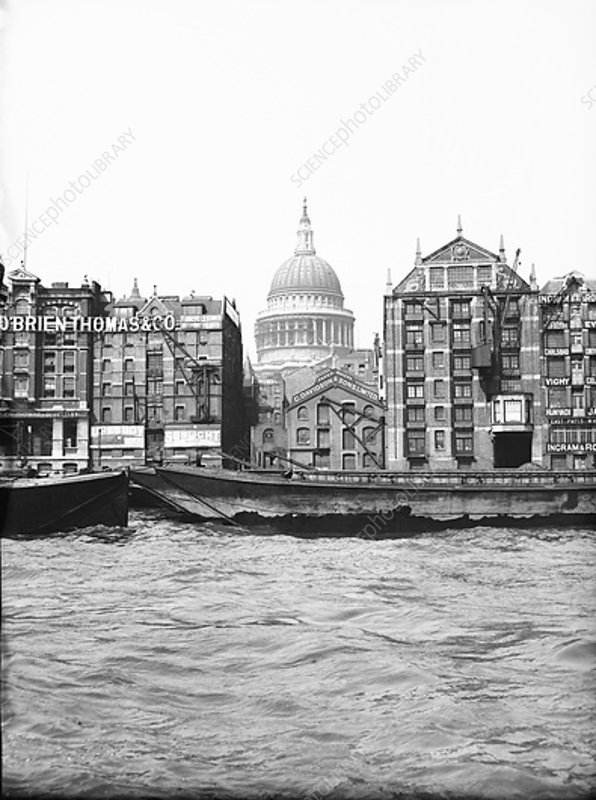 Lighters passing St Paul's Wharf, London, c1905