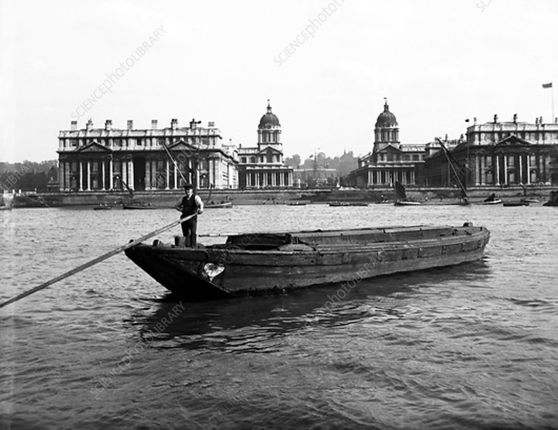 Barges on the Thames at Greenwich, London, c1905