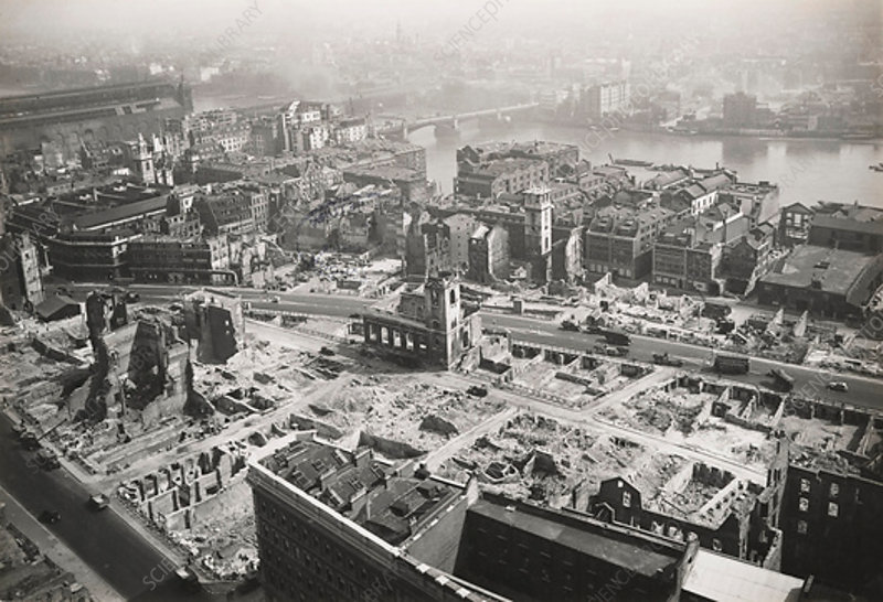 St Paul's Cathedral towards Southwark Bridge, London, 1942