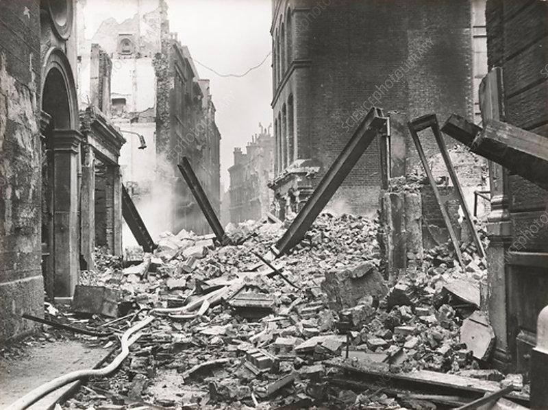 Walbrook after an air raid, City of London, World War II