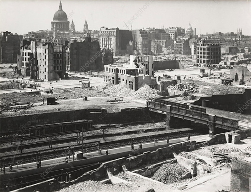 The Barbican area of the City of London, World War II, 1942