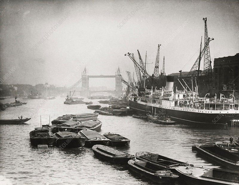 Thames looking towards Tower Bridge, London, c1920