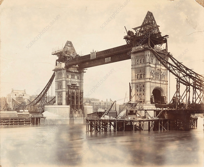 Tower Bridge under construction, London, c1893