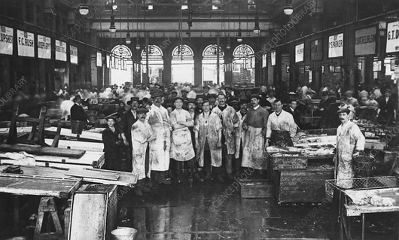 The interior of Billingsgate Market, London, c1918