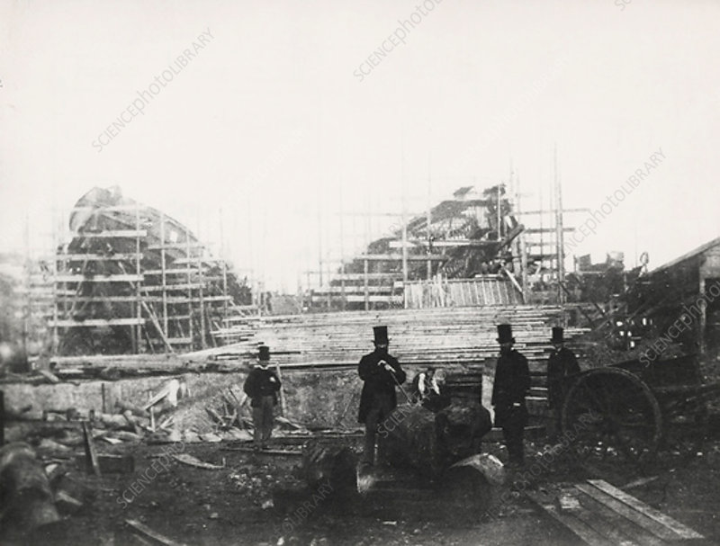 Shipyard of James Ash & Co, Cubitt Town, London, c1863