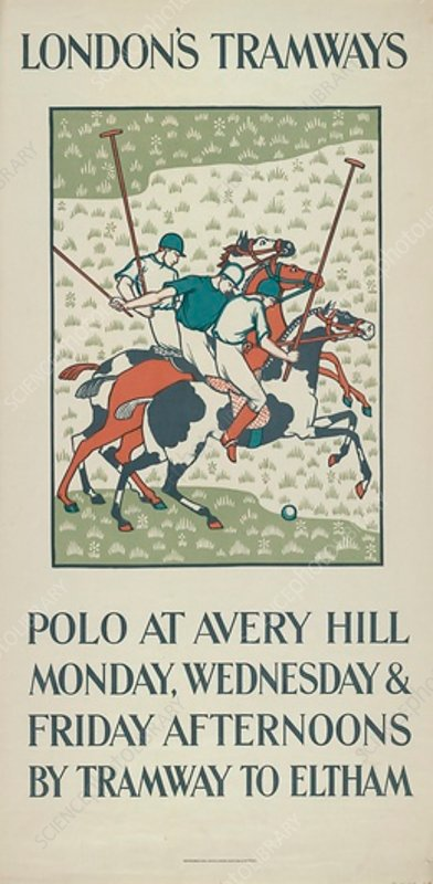 Polo at Avery Hill, LCC Tramways poster, 1923