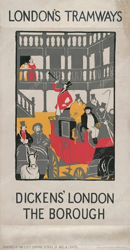 Dickens' London - The Borough, LCC Tramways poster, 1923