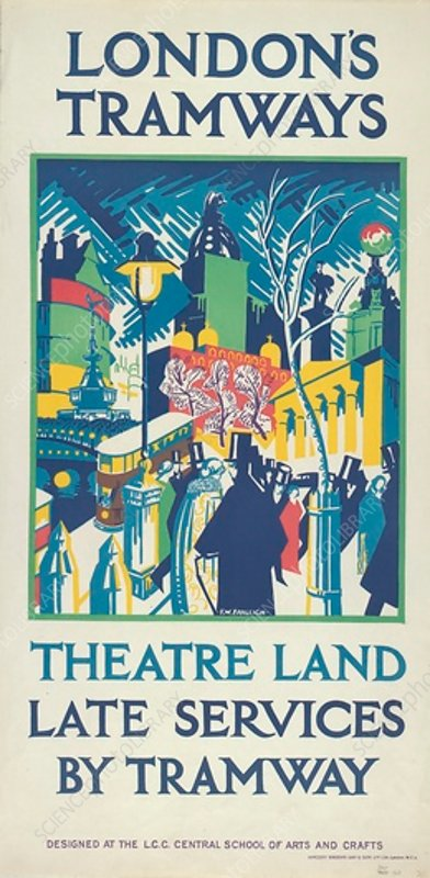 Theatre Land - Late Services by Tramway, poster, 1923