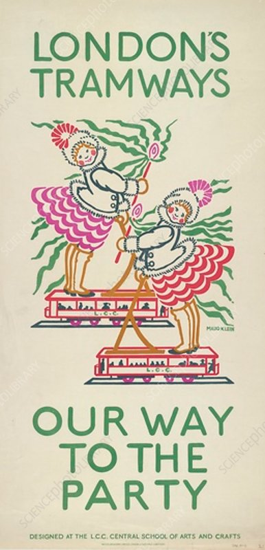 Our Way to the Party, LCC Tramways poster, 1924