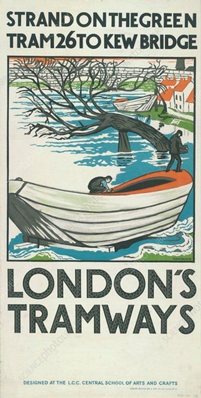 Strand on the Green, Tram 26 to Kew Bridge, poster, 1924