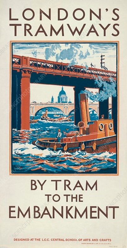 By Tram to the Embankment, LCC Tramways poster, 1924