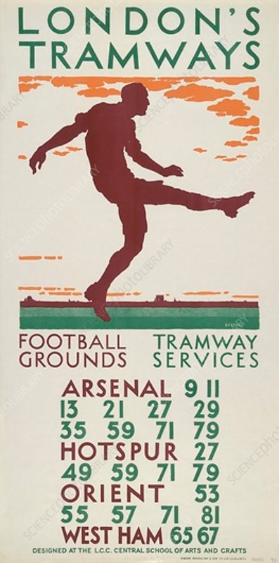 Football Grounds Tramway Services, LCC Tramways poster, 1925