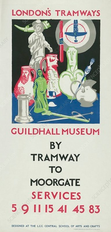 Guildhall Museum by Tramway to Moorgate, poster, 1925