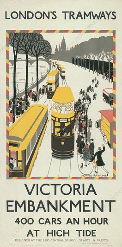 Victoria Embankment, LCC Tramways poster, 1926