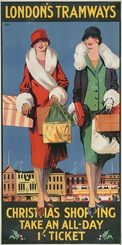 Christmas Shopping, Take an All-Day 1 - Ticket, poster, 1926