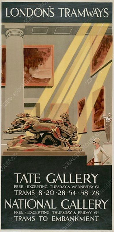 Tate Gallery, National Gallery, LCC Tramways poster, 1927